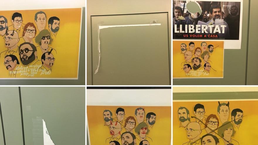 Carteles colgados en la puerta de un despacho de ERC en el Senado. Bernat Picornell