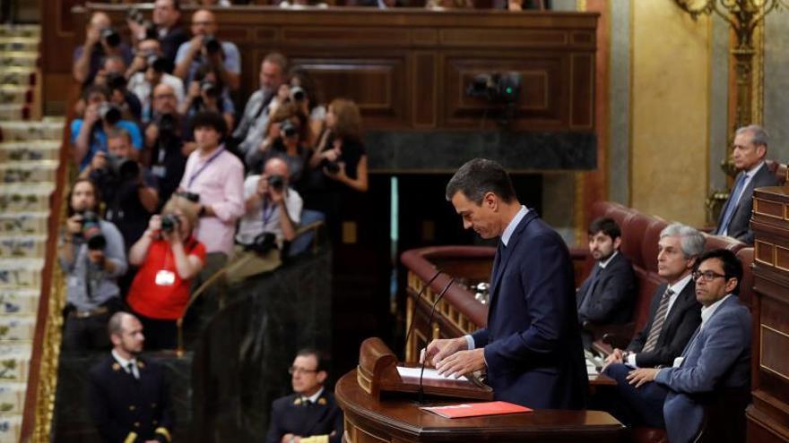 Pedro Sánchez durante su discurso en la tercera sesión de la investidura.