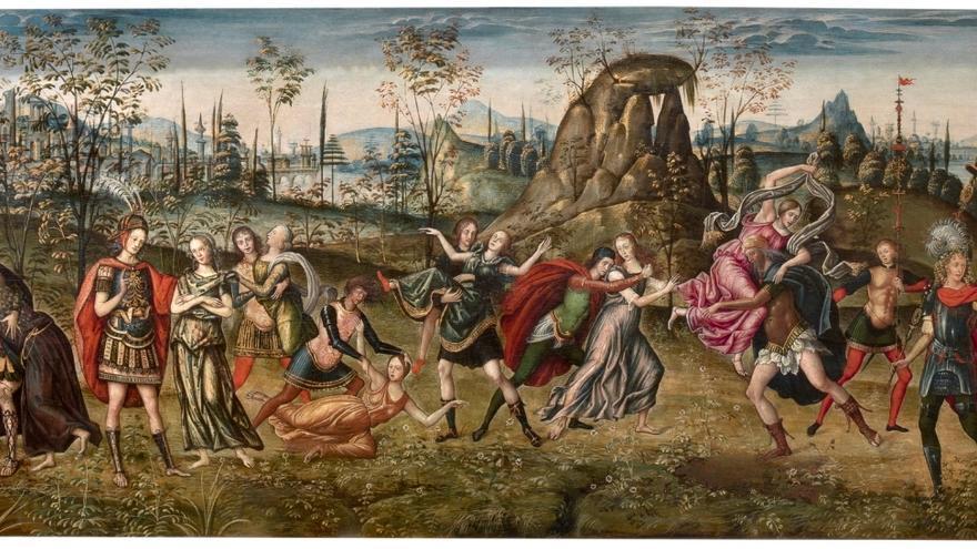 'La continencia de Escipión' o 'El rapto de las sabinas'. Amico Aspertini, Guido Aspertini, 1496. Óleo sobre tabla © Museo Nacional del Prado