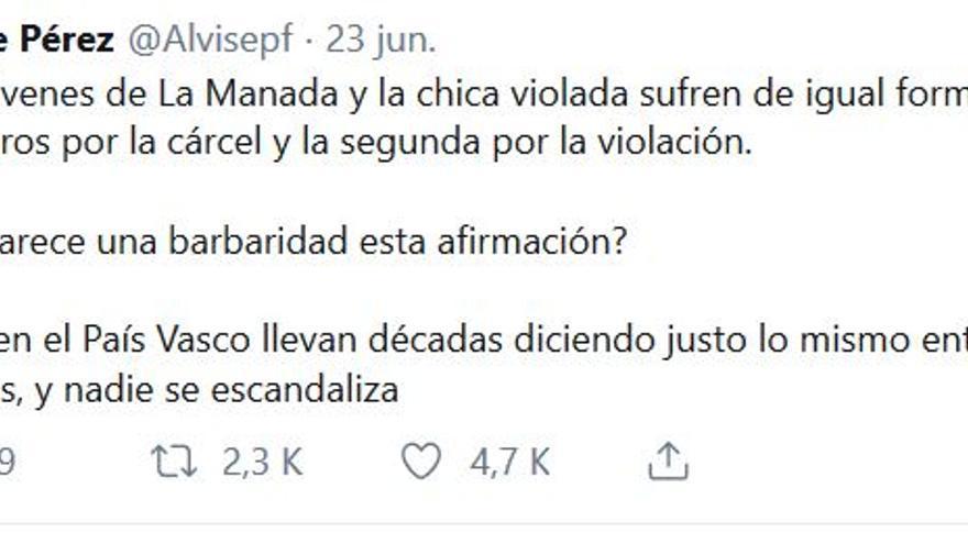 Comparación entre los discursos sobre el caso de la Manada y ETA