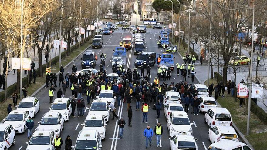 Vista general del Paseo de la Castellana, donde se han manifestado los taxistas