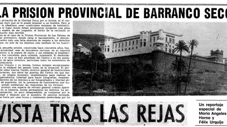 Recorte de prensa de El Eco de Canaria: 09/07/1978