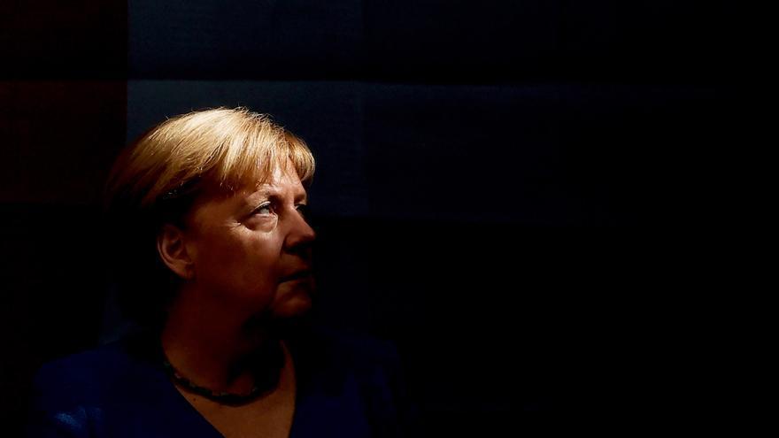 La canciller alemana Angela Merkel en al cierre de campaña electoral del CDU en Aquisgrán, este sábado. . EFE/FRIEDEMANN VOGEL