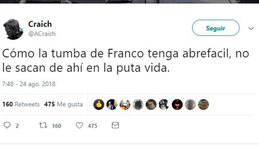 Captura de un tuit de humor sobre la exhumación de Franco