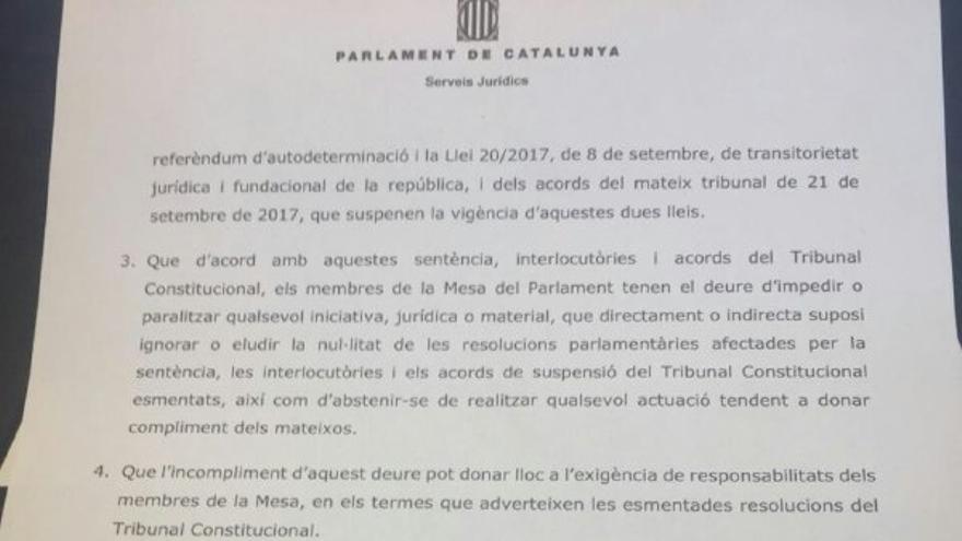 Carta de los letrados del Parlament sobre la declaración unilateral de independencia.
