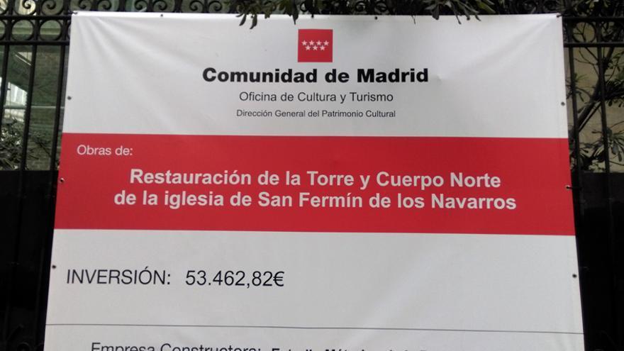 Cartel de la inversión de la Comunidad de Madrid