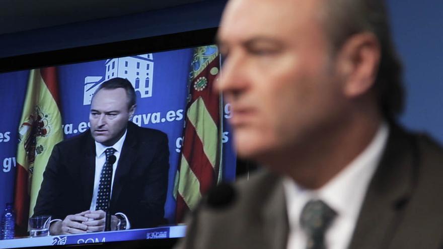 El presidente de la Generalitat, Alberto Fabra, en su comparecencia ante la prensa.