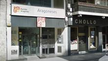 Fachada de la sede del PAR en el Coso de Zaragoza, ahora a la venta.