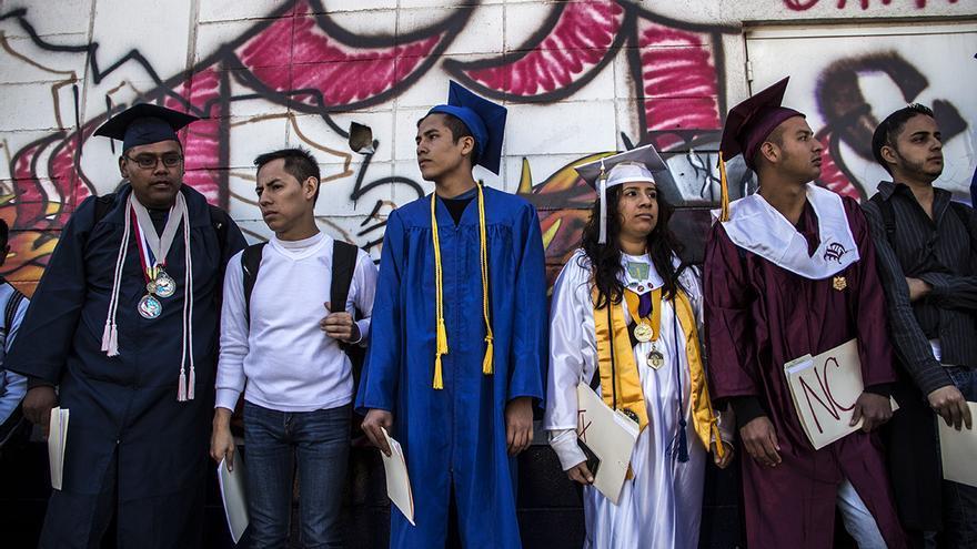 Acción de protesta de un grupo de Dreamers en la garita fronteriza de Tijuana - San Diego / Foto: J.P. Martínez.