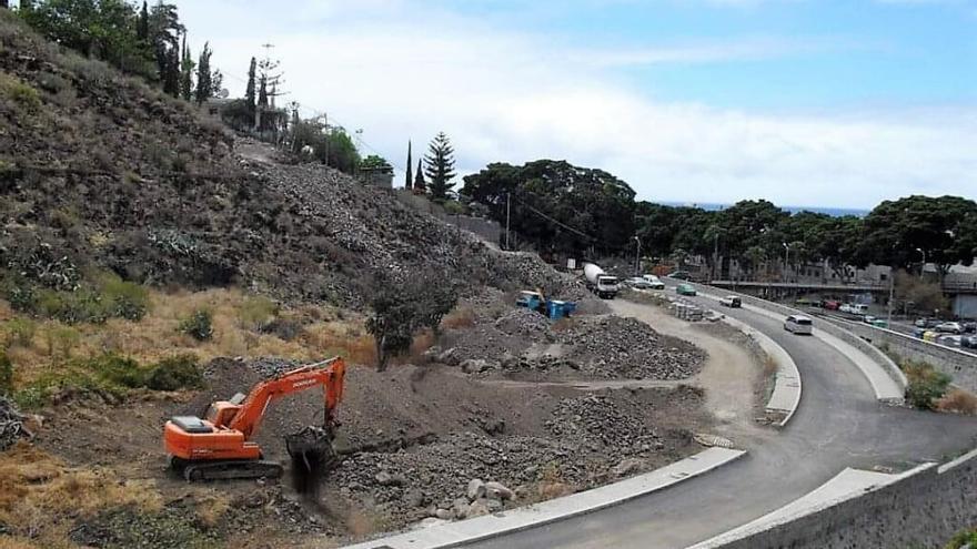 Obras en la zona de Las Huertas, en el pueblo de San Andrés.
