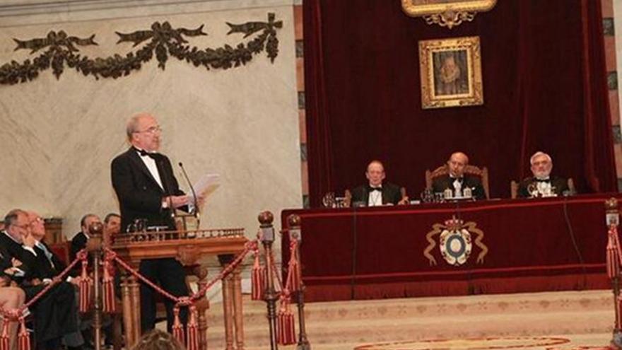 Santiago Muñoz Machado, durante su discurso, en un acto presidido por el ministro Wert.
