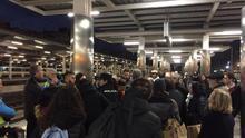 Imagen de la protesta que tuvo lugar en el andén de cercanías en València