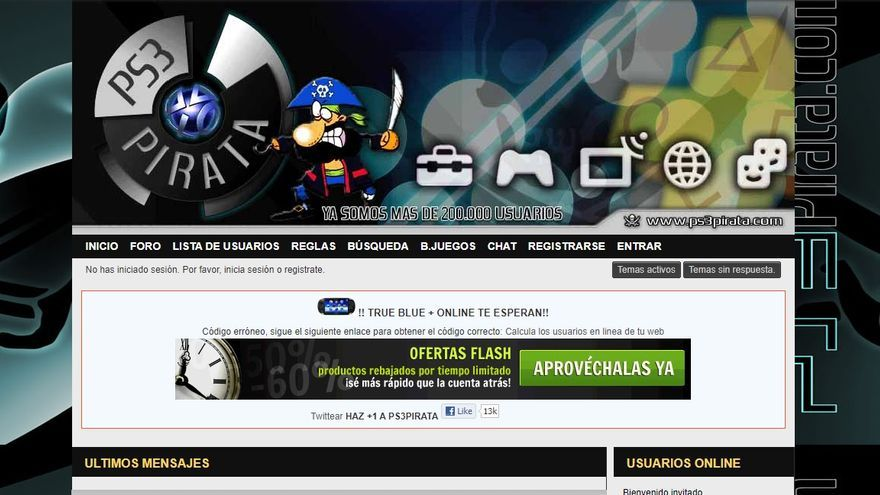 Captura que muestra la apariencia que la página web ps3pirata.com mostraba en 2012.