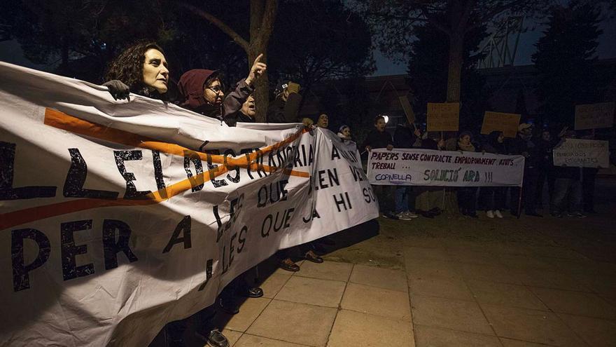 Protesta ante las puertas del Palau Sant Jordi de Barcelona
