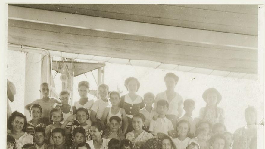 Niños pasajeros del Winnipeg en 1939.