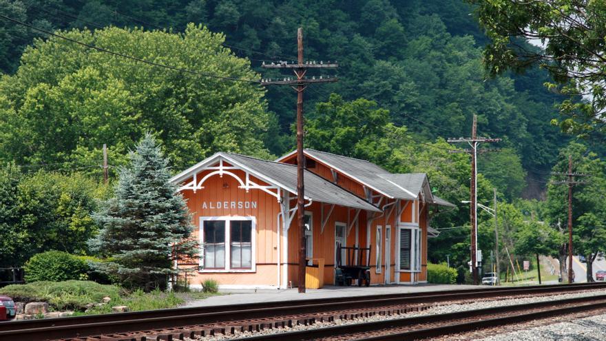 Una estación de tren en Alderson, West Virginia.