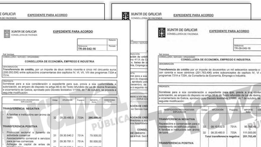 Páginas de los expedientes de traspaso de fondos del tícket eléctrico a otras partidas de la Xunta