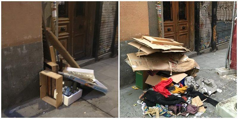 Imágenes de la basura en Andrés Borrego, en diferentes días | SOMOS MALASAÑA