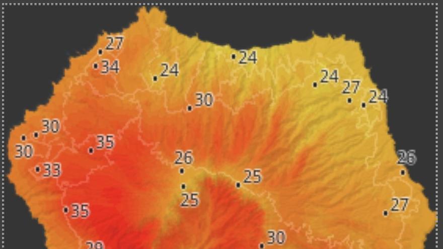 Mapa de HD Meteo La Palma donde se indica la temperatura que, a las 15.40 horas de este domingo, 24 de agosto, se registraba en distintos puntos de La Palma.