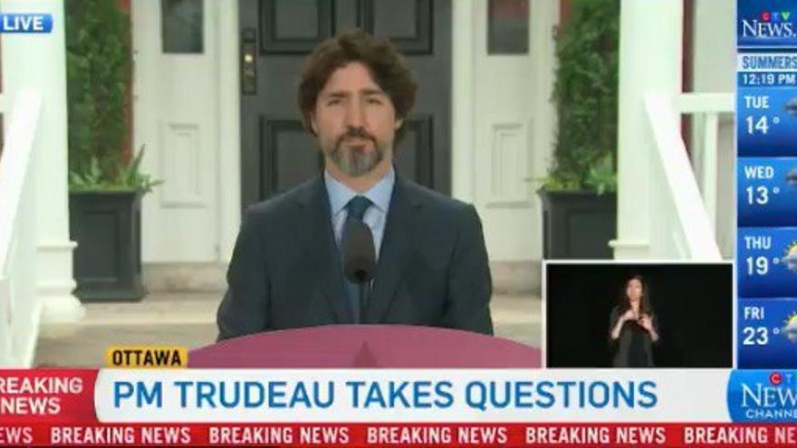 El primer ministro de Canadá, Justin Trudeau, durante la reuda de prensa en la que ha sido preguntado por la actuación de Trump.