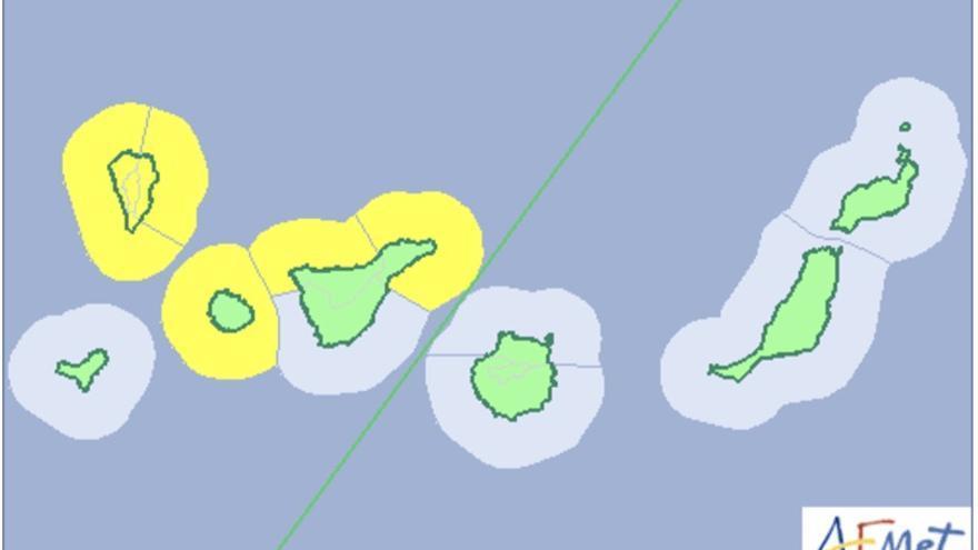 Mapa de la Aemet del aviso de riesgo por lluvias y fenómeno costero.
