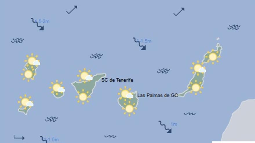 Mapa con la previsión meteorológica para este lunes, 10 de abril de 2017