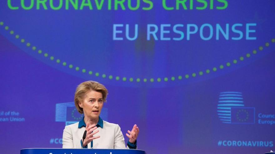 La presidenta de la Comisión Europea, Ursula Von der Leyen, el 15 de abril de 2020 en Bruselas.