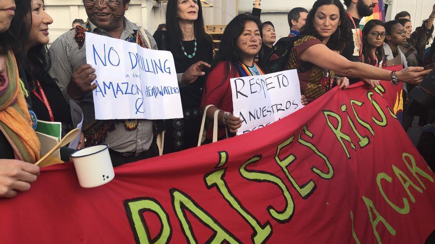 Protesta de grupos de mujeres, movimientos sociales, comunidades indígenas y jóvenes el pasado miércoles en la COP25.