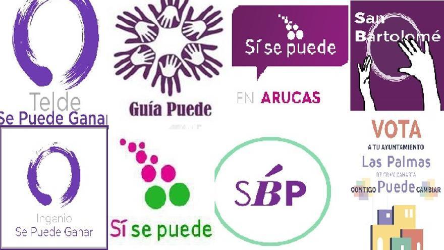 Logos de los partidos de Gran Canaria que cuentan en su formación con miembros de Podemos.