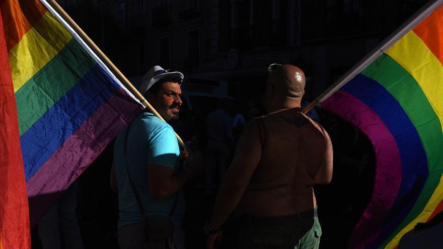 Dos personas sostienen banderas LGTBI en la manifestación de Madrid.
