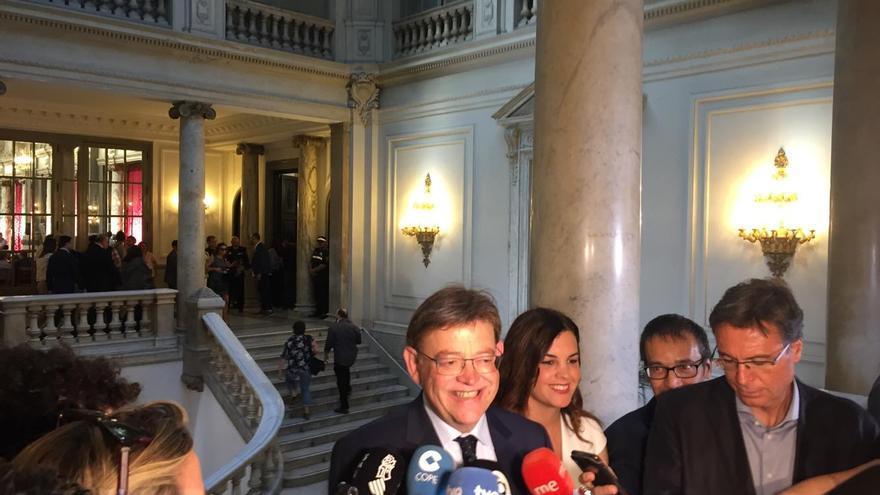 El presidente del Consell, Ximo Puig, en el Ayuntamiento de València