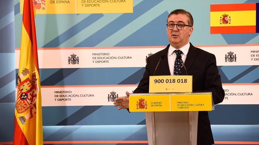Marcial Marín, secretario de Estado de Educación, en la presentación del teléfono contra el acoso escolar.