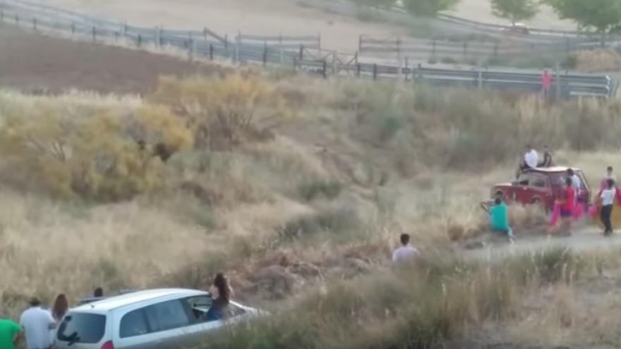 Captura del vídeo de los encierros en Lominchar