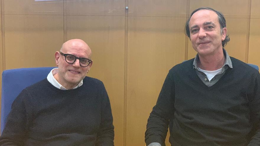 Enzo Traverso y Francisco Martorell Campos, en la Universitat de València antes de la entrevista.