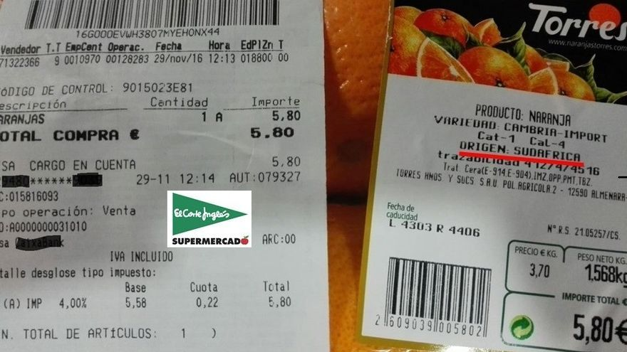 Imagen de la compra de naranjas surafricanas en El Corte Inglés