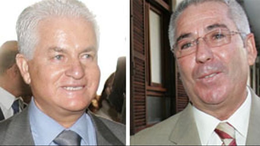 El empresario Santiago Santana Cazorla, y el alcalde de Telde, Francisco Santiago Castellano. (QUIQUE CURBELO)
