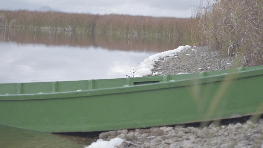 Una de las características barcas de las Tablas de Daimiel sobre una orilla llena de espuma