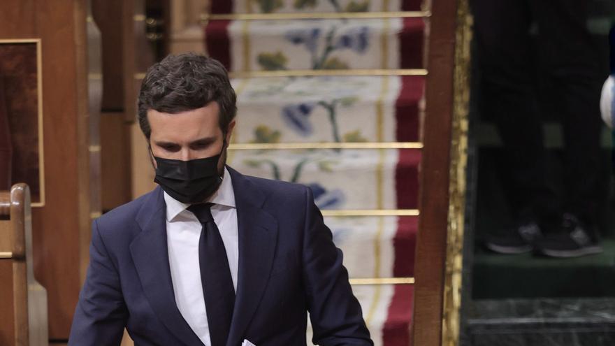 El líder del PP, Pablo Casado, en el Pleno del Congreso que debate sobre los indultos a los condenados por el 'procés'. En Madrid, a 30 de junio de 2021, en Madrid, (España).
