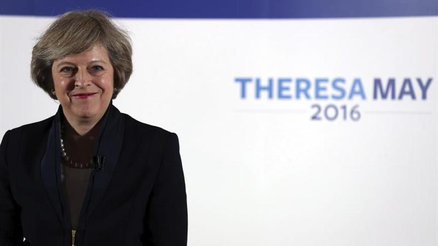 Theresa May, durante la presentación de su efímera campaña hacia el liderazgo del Partido Conservador.