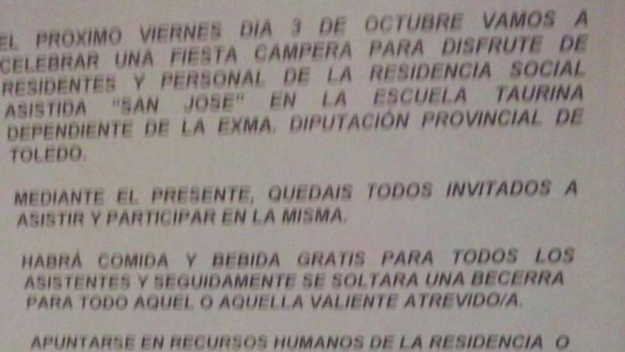 Circular de la Diputación de Toledo en la residencia San José, Toledo, 3/10/14
