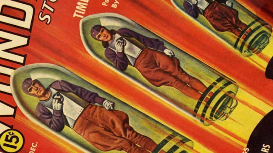 Detalle de la revista 'Wonder Stories' (años 30).