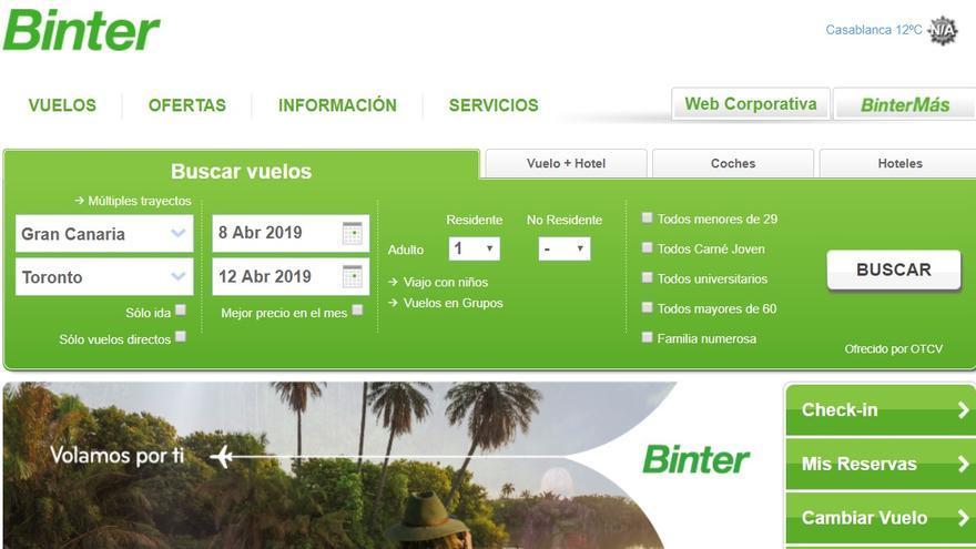 Imagen de la web de venta de billetes 'online' de la compañía Binter