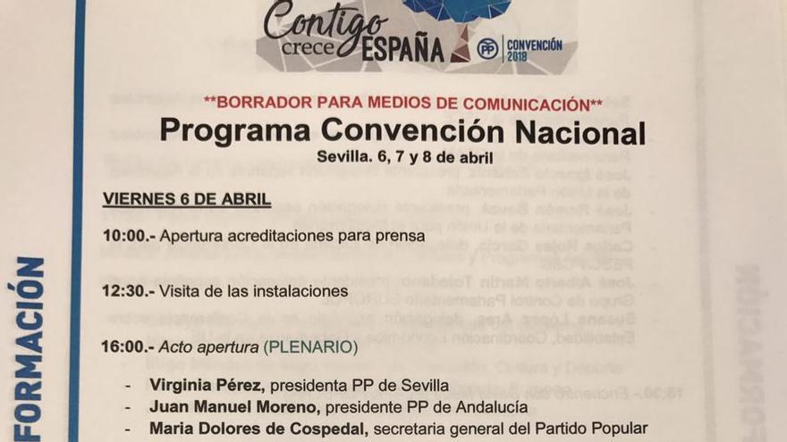 Programa de la Convención Nacional del PP.