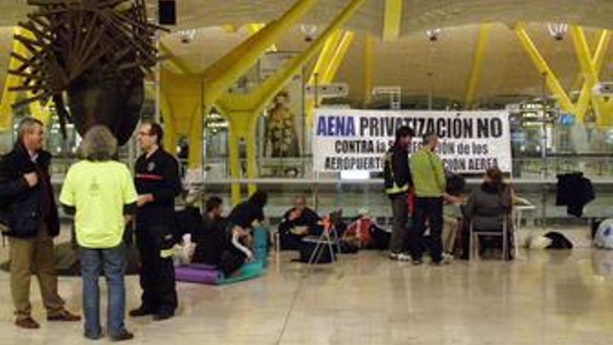 Protestas de trabajadores en la T4 de Barajas