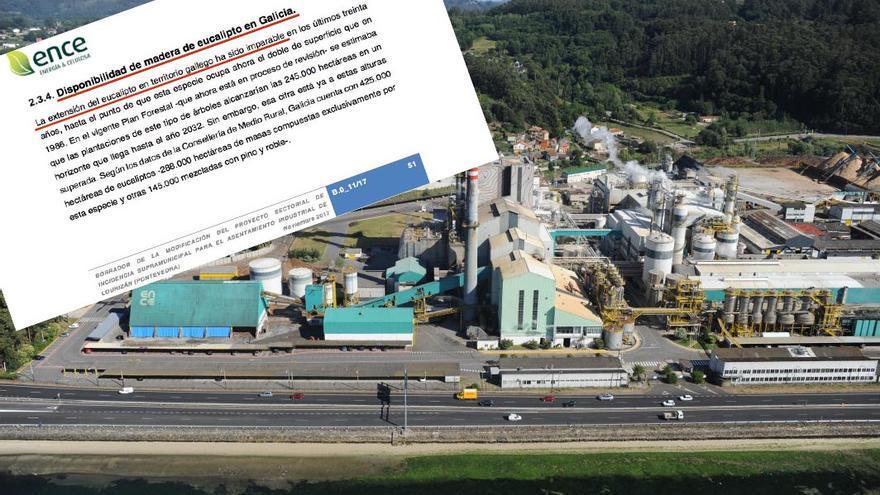 Argumento empleado por Ence para la planta de biomasa sobre una imagen de su recinto en Pontevedra sacada del Plan de Ordenación del Litoral de la Xunta