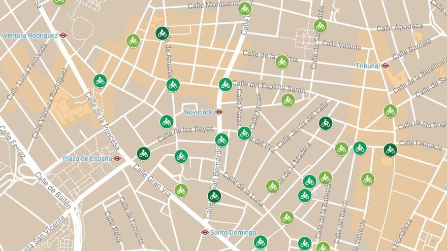 Mapa de los aparcamientos para motos en Malasaña