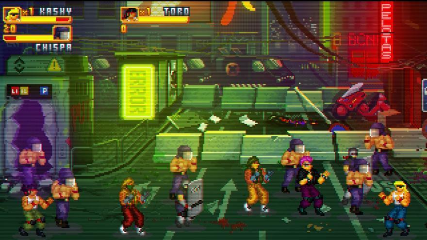 Captura de pantalla de Rawal Rumble, el videojuego beat'em up inspirado en una Barcelona retrofuturista