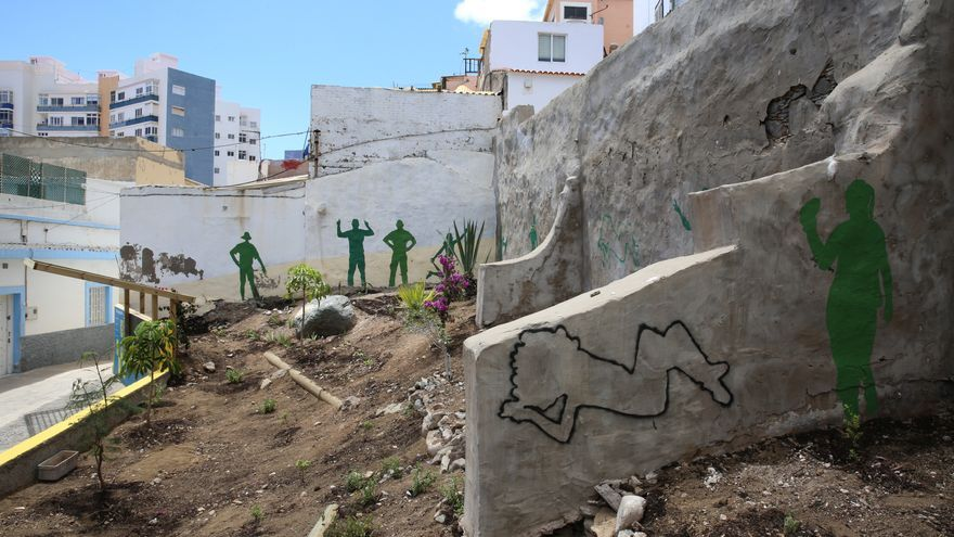 Zona verde creada en el Risco de San Nicolás dentro de las jornadas Arquitecturas Colectivas