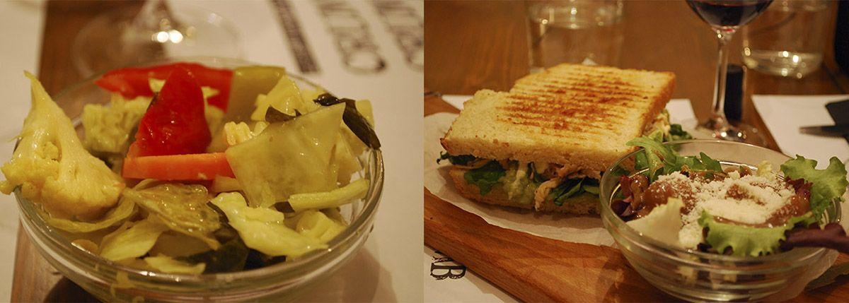 Díptico verduras encurtidas y sándwich de pollo provenzal con guacamole