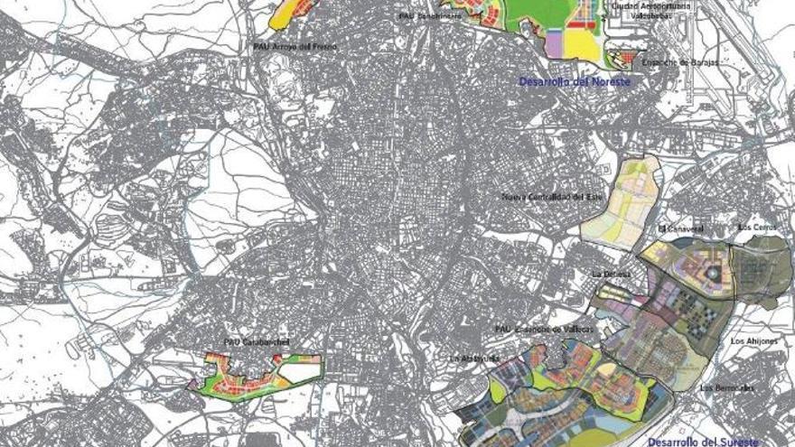 Plan de nuevos desarrollos urbanos en Madrid. Fuente: http://www.madrid.es/UnidadesDescentralizadas/UrbanismoyVivienda/Urbanismo/MemoriaGestion2010/5.OtrasActua/1.nuevosdesarrollos.pdf